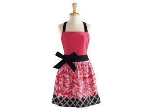 "29"" Jet Black and Paradise Pink Women's Floral Kitchen Apron"