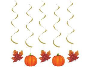 Pack of 30 Gold and Orange Pumpkins and Leaves Autumn Harvest Dizzy Dangler Hanging Thanksgiviving Party Decorations