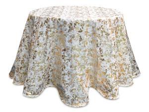 Pack of 2 Cream White and Gold Round Decorative Metallic Tablecloths 96""