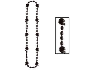 """Club Pack of 12 Metallic Black Football Helmet Beaded Necklace Party Favors 36"""""""