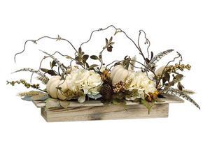 """24"""" Autumn Harvest Pumpkin, Hydrangea, and Berry Artificial Table Top Thanksgiving Decoration"""