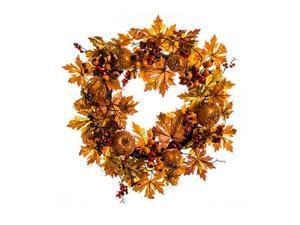 "22"" Autumn Harvest Gold and Orange Glitter Apple, Berry, Leaf and Vine Thanksgiving Wreath - Unlit"