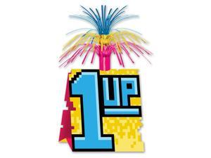 """Club Pack of 12 Retro Neon """"1-UP"""" 8-Bit with Tinsel Decorative Party Centerpiece 13"""""""
