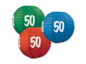 """Pack of 6 Red, Blue, and Green Birthday """"50""""  Festive Hanging Paper Lanterns 9.5"""""""