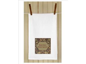 "Set of 3 Humorous ""Real Men Wear Aprons"" White Flour Sack Kitchen Hand Towels 29"""