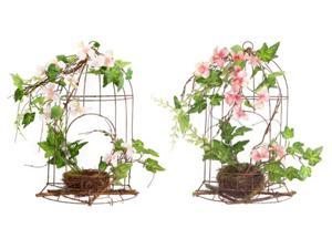 Pack of 4 Pink Artificial Dogwood Flowers and Ivy Table Top Birdcage Decorations 14""