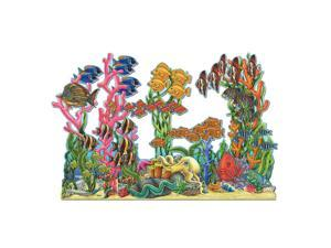 Club Pack of 12 Multi-colored Under Water Seascape Double-Sided Party Decoration 37""
