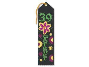 """Pack of 6 Black """"39 Forever"""" Jeweled Birthday Party Favor Ribbon Bookmarks 8"""""""