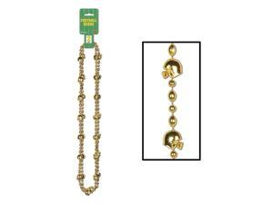 """Club Pack of 24 Metallic Golden Football and Helmet Party Beads 35"""""""