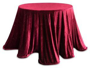 Set of 2 Decorative Burgundy Red Sparkling Velour Round Tablecloths 96""