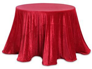 Set of 2 Decorative Red Sparkling Velour Round Tablecloths 96""