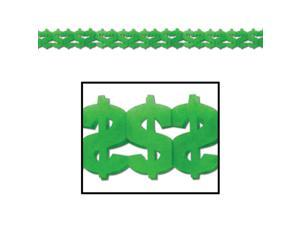 """Pack of 12 Green Dollar Sign """"$"""" Casino Royale Tissue Paper Party Garlands 144"""""""