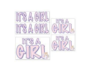 "Club Pack of 60 Baby Shower Themed Pink ""It's A Girl"" Auto-Cling Decal Decorations"