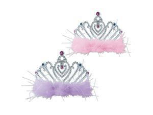 Club Pack of 12 Lavender and Pink with Faux Gemstone Princess Tiaras Costume Accessories