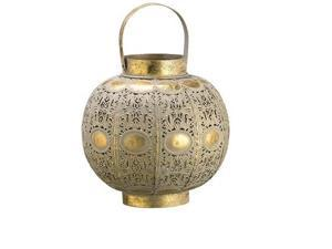 """10"""" Rich Elegance Distressed Gold and Glass Moroccan-Inspired Hurricane Candle Holder Lantern"""