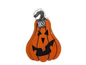 "16"" Orange and Black ""Boo"" Light Up Jack O' Lantern Hanging Halloween Decoration"