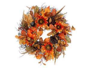 "22"" Autumn Harvest Orange Pumpkin, Sunflower & Lotus Pod Artificial Thanksgiving Floral Wreath - Unlit"