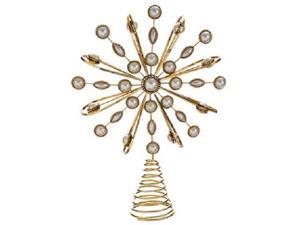 """11.5"""" Glamour Time Gold Pearl Snowflake Christmas Tree Topper - Unlit"""