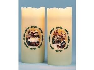 """7"""" Battery Operated LED Lighted Santa's Sleigh Decorative Christmas Pillar Candle"""