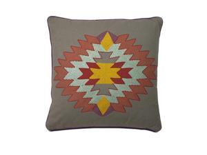 "20"" Aztec Indian Summer Grey Corded Throw Pillow"