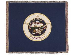 """Blue State Flag of Minnesota Woven Tapestry Afghan Throw Blanket 60"""" x 50"""""""