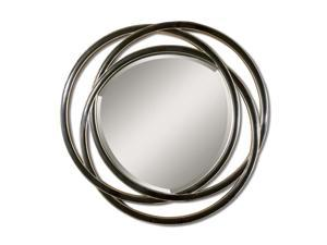 "48"" Matte Black & Silver Entwined Circles Framed Beveled Round Wall Mirror"