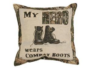 "Set of 2 ""My Hero"" Combat Boots Military Square Decorative Tapestry Throw Pillows 17"""