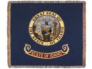 "Blue State Flag of Idaho Woven Tapestry Afghan Throw Blanket 60"" x 50"""