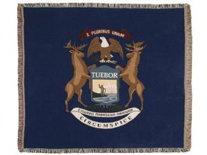 """Blue State Flag of Michigan Woven Tapestry Afghan Throw Blanket 60"""" x 50"""""""