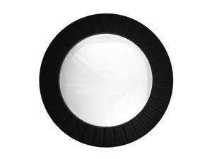 "20"" Simply Elegant Black Fluted Frame Decorative Round Wall Mirror"