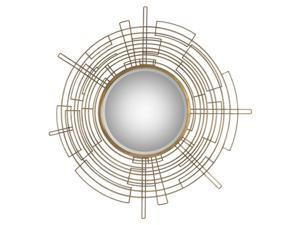"""50"""" Intergalactic Modern Round Wall Mirror with Golden Forged Iron Rod Frame"""