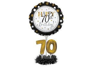 """Set of 4 """"Happy 70th Birthday!"""" Foil Party Balloon Centerpiece Kits 30"""""""