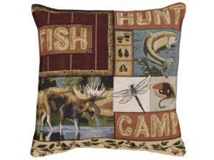 Set of 2 Rural Fish, Hunt and Camp Square Decorative Tapestry Throw Pillows 17""