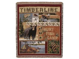"Rural Timberline ""Hunt, Fish, Camp"" Woven Tapestry Afghan Throw Blanket 50"" x 60"""