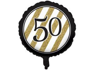 """Pack of 10 Black & Gold Metallic """"50"""" Birthday or Anniversary Foil Party Balloons"""