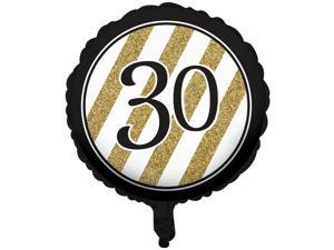 """Pack of 10 Black & Gold Metallic """"30"""" Birthday or Anniversary Foil Party Balloons"""