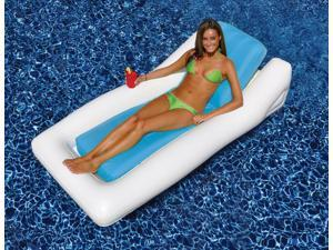 """66"""" Blue and White Multi-Flate Chamber System Inflatable Swimming Pool Hybrid Lounger"""