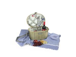 2-Person Hand Woven Warm Gray and Natural Paris Willow Picnic Basket Set with Accessories