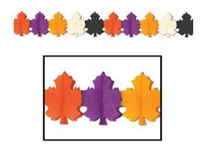 Club Pack of 12 Multi-Colored Designer Fall Leaf Tissue Garland Party Decorations 12'