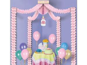 """Pack of 6 Pink """"It's A Girl!"""" Baby Shower Canopy Decorating Party Kit 20' x 20'"""