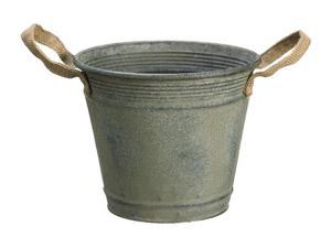 """8.25"""" Country Rustic Antique-Style Metal Container Bucket with Jute Handles"""