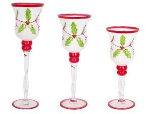 Set of 3 Decorative Glass Holly Candle Holders Christmas Decoration 15.75""