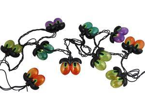 Set of 10 Multi-Color Spooky Eyeball Halloween Lights - Black Wire