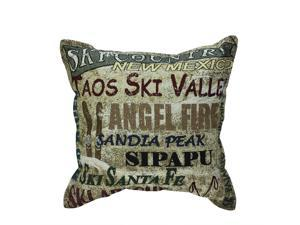 "17"" New Mexico Ski Country Decorative Tapestry Accent Throw Pillow"