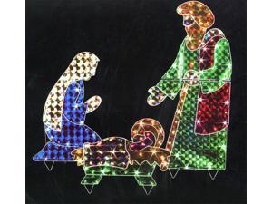 "42"" Holographic Lighted 3-Piece Christmas Nativity Set Yard Art Decoration"