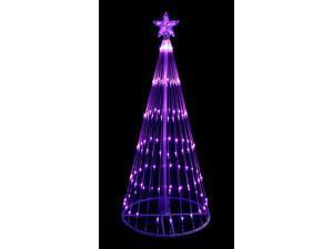 4' Purple LED Light Show Cone Christmas Tree Lighted Yard Art Decoration