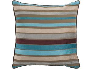 """22"""" Bright and Vibrant Brown and Teal Striped Decorative Throw Pillow"""