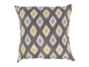 "18"" Rodrigo Diamonds Graphite Gray and Golden Yellow Decorative Ikat Throw Pillow"