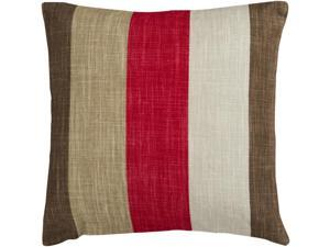 "22"" Red and Brown Thick Striped Decorative Throw Pillow"