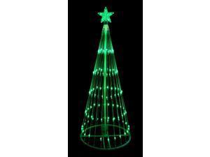 12' Green LED Light Show Cone Christmas Tree Lighted Yard Art Decoration